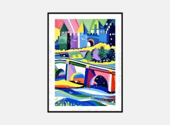 Affiche Cité en hiver 50 x 70